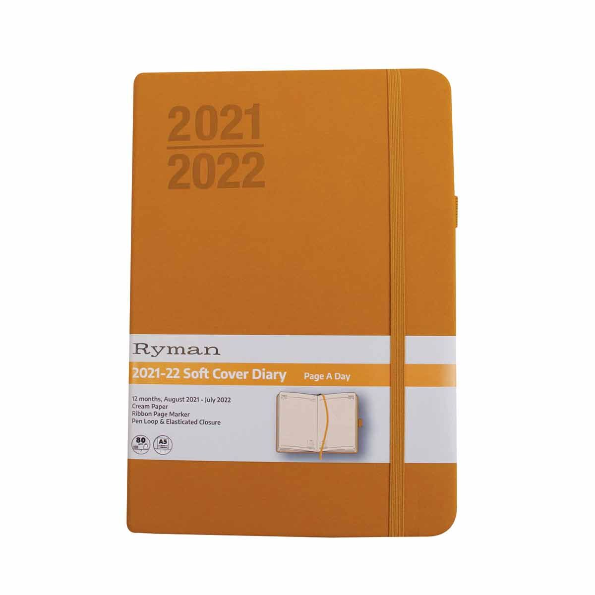 Ryman Soft Cover Mid-Year Diary Day to View A5 2021 Ochre