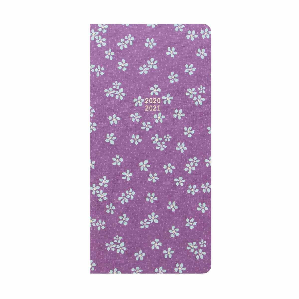 Letts Floret Mid-Year Diary Week to View Slim 2020-2021 Light Purple