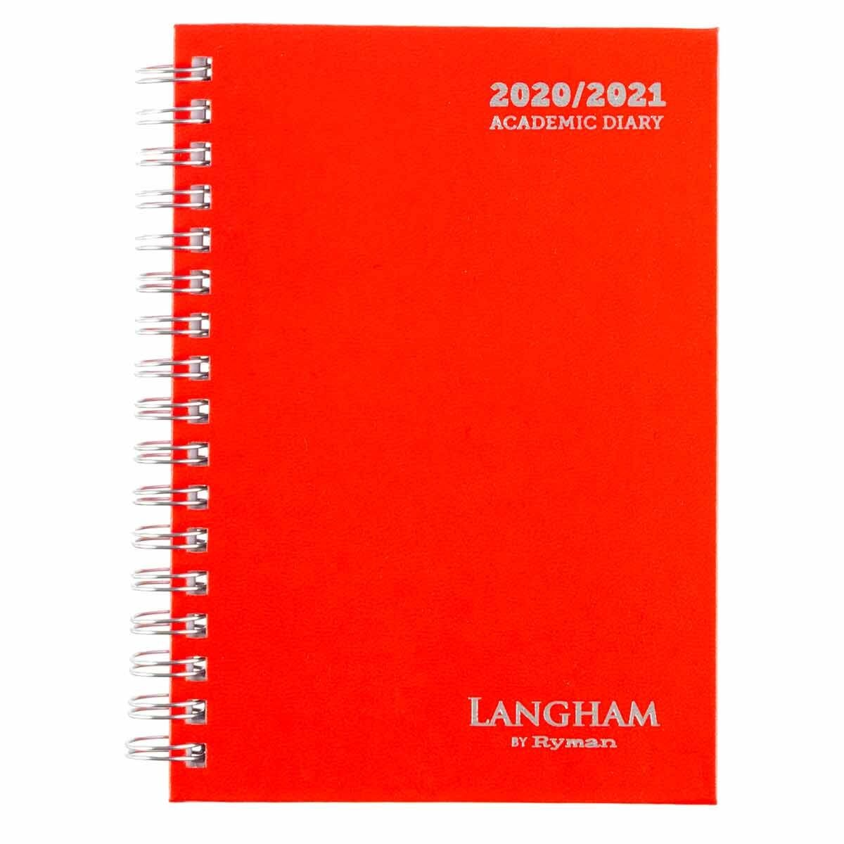 Langham Wiro Diary Week to View A6 2020-2021 Red