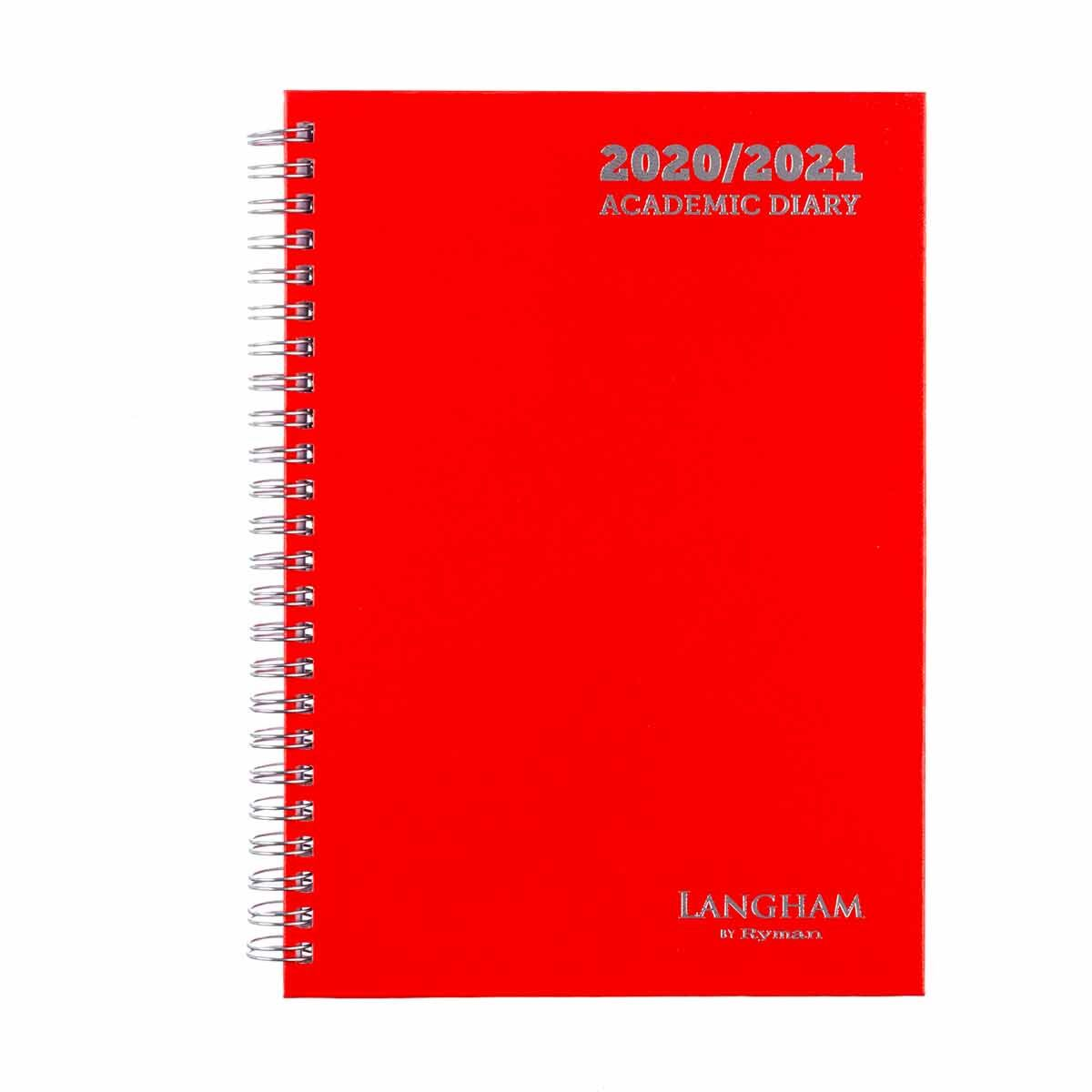 Langham Wiro Diary Week to View A5 2020-2021 Red