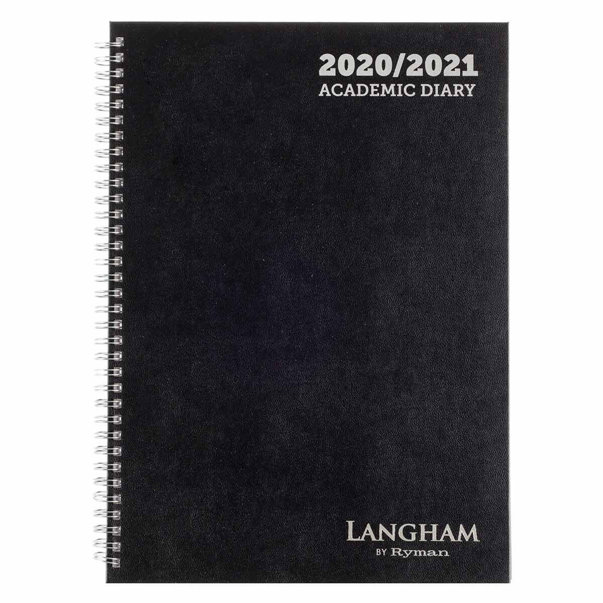 Langham Wiro Diary Week to View A4 2020-2021 Black