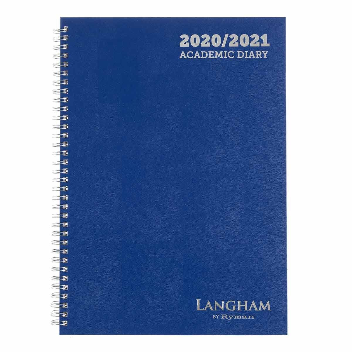 Langham Wiro Diary Week to View A4 2020-2021 Navy