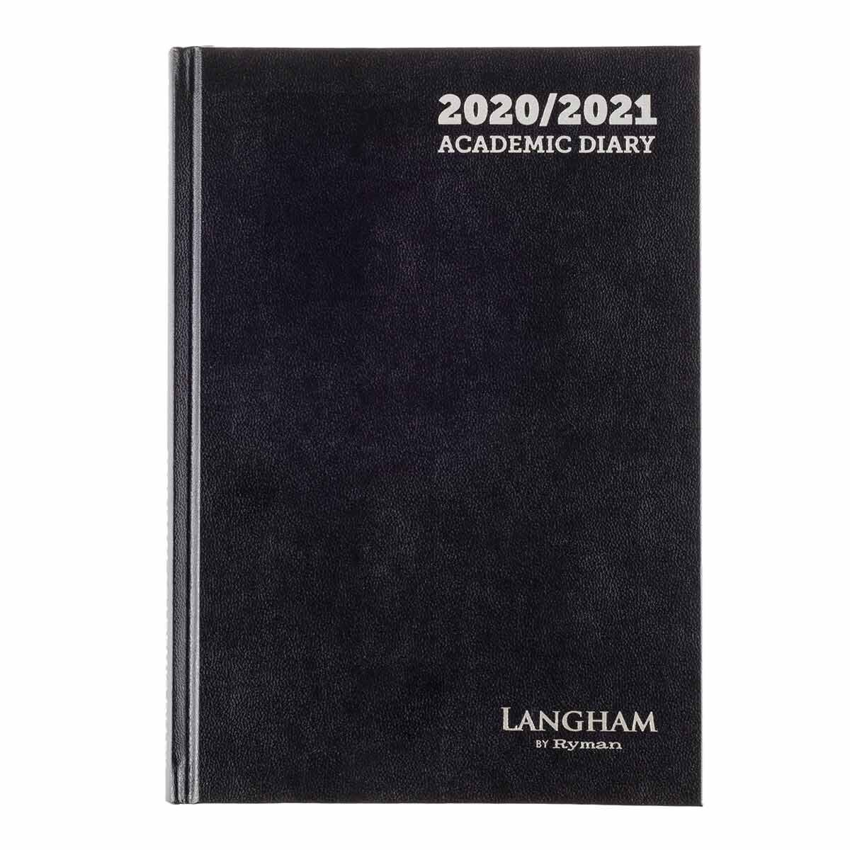 Langham Diary 2 Days per Page A5 2020-2021 Black