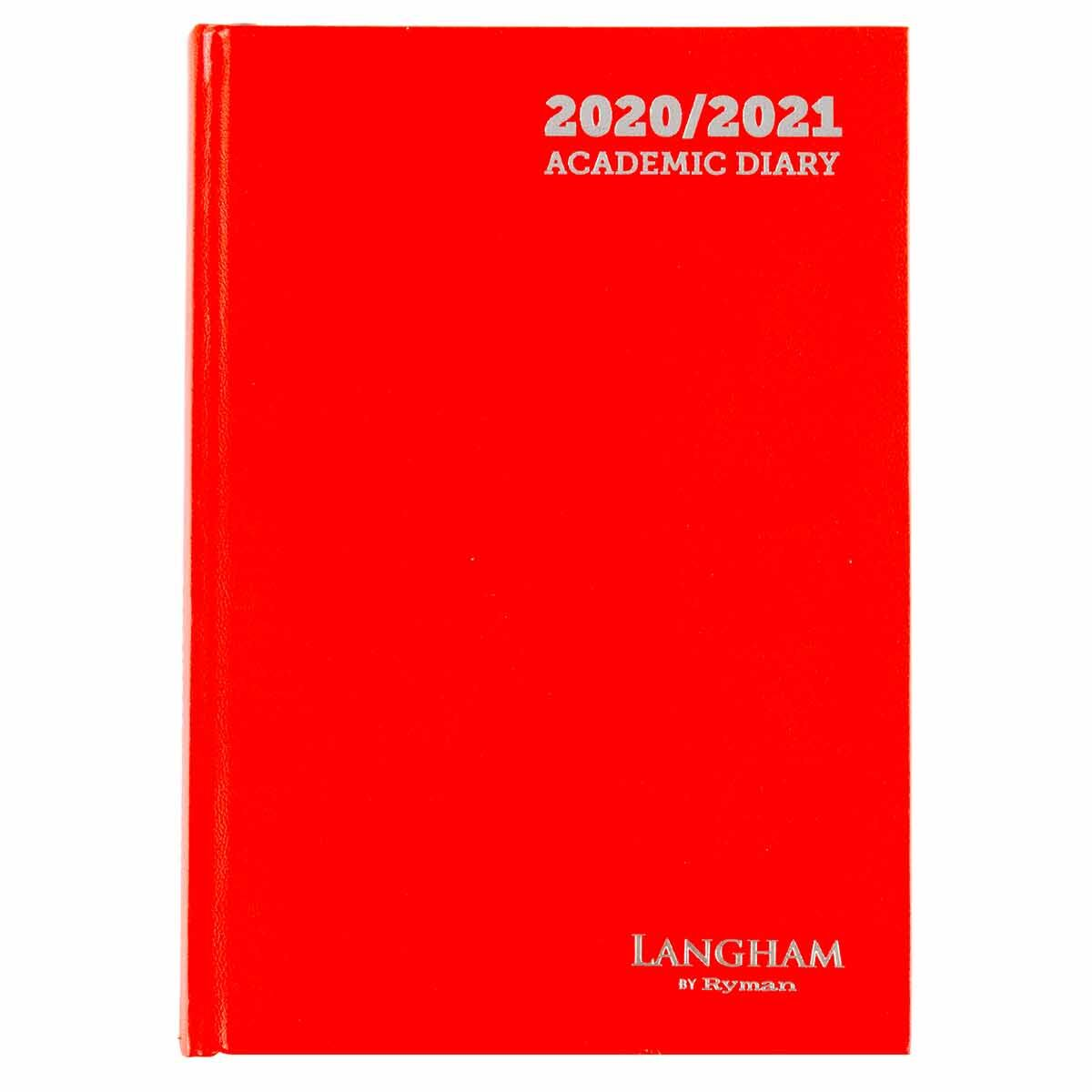 Langham Diary 2 Days per Page A5 2020-2021 Red