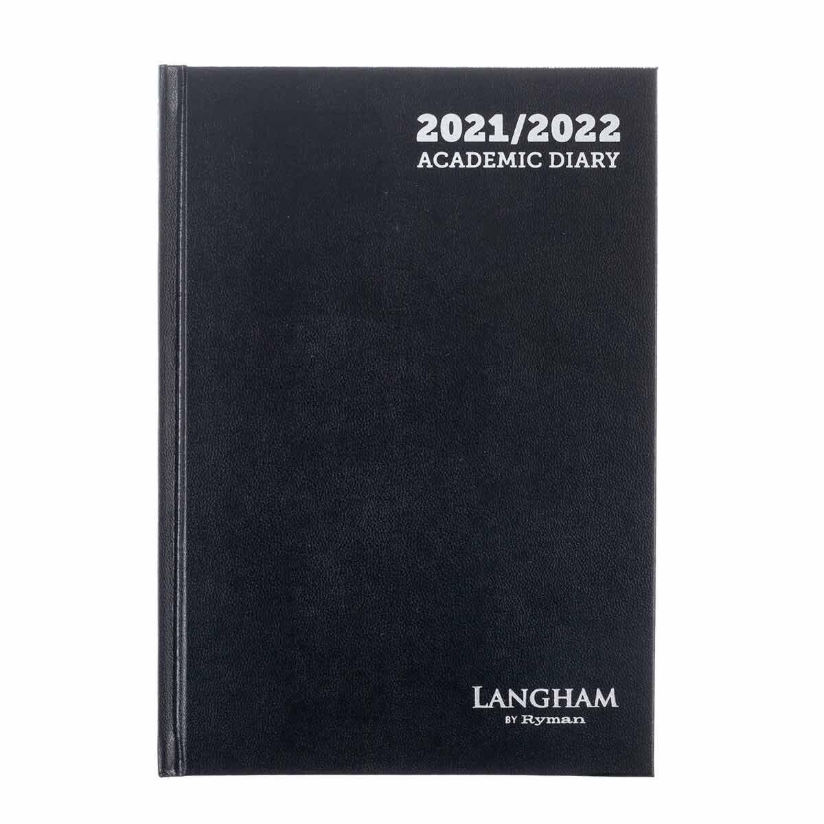 Ryman Langham Academic Diary Week to View A5 2021 Black