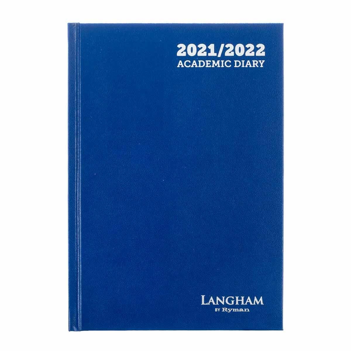 Ryman Langham Academic Diary 2 Day per Page A5 2021 Royal Blue