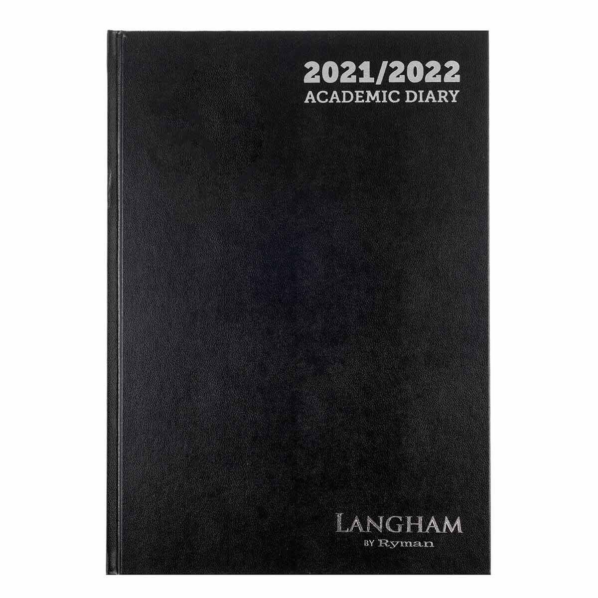 Ryman Langham Academic Diary Week to View A4 2021 Black