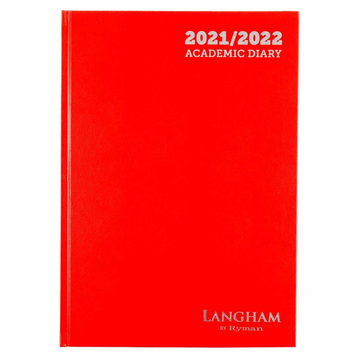 Ryman Langham Academic Diary Week to View A4 2021 Red