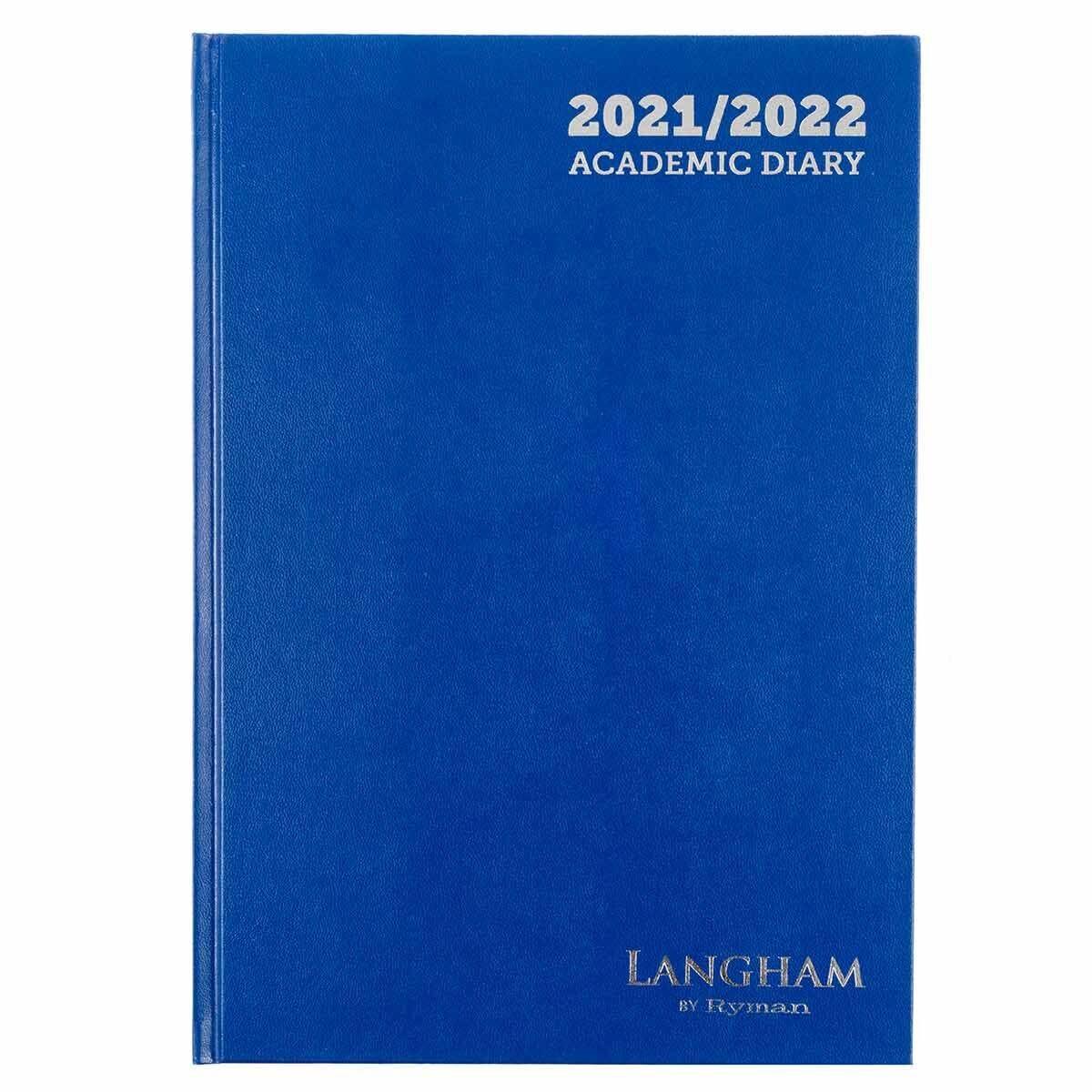 Ryman Langham Academic Diary Week to View A4 2021 Navy