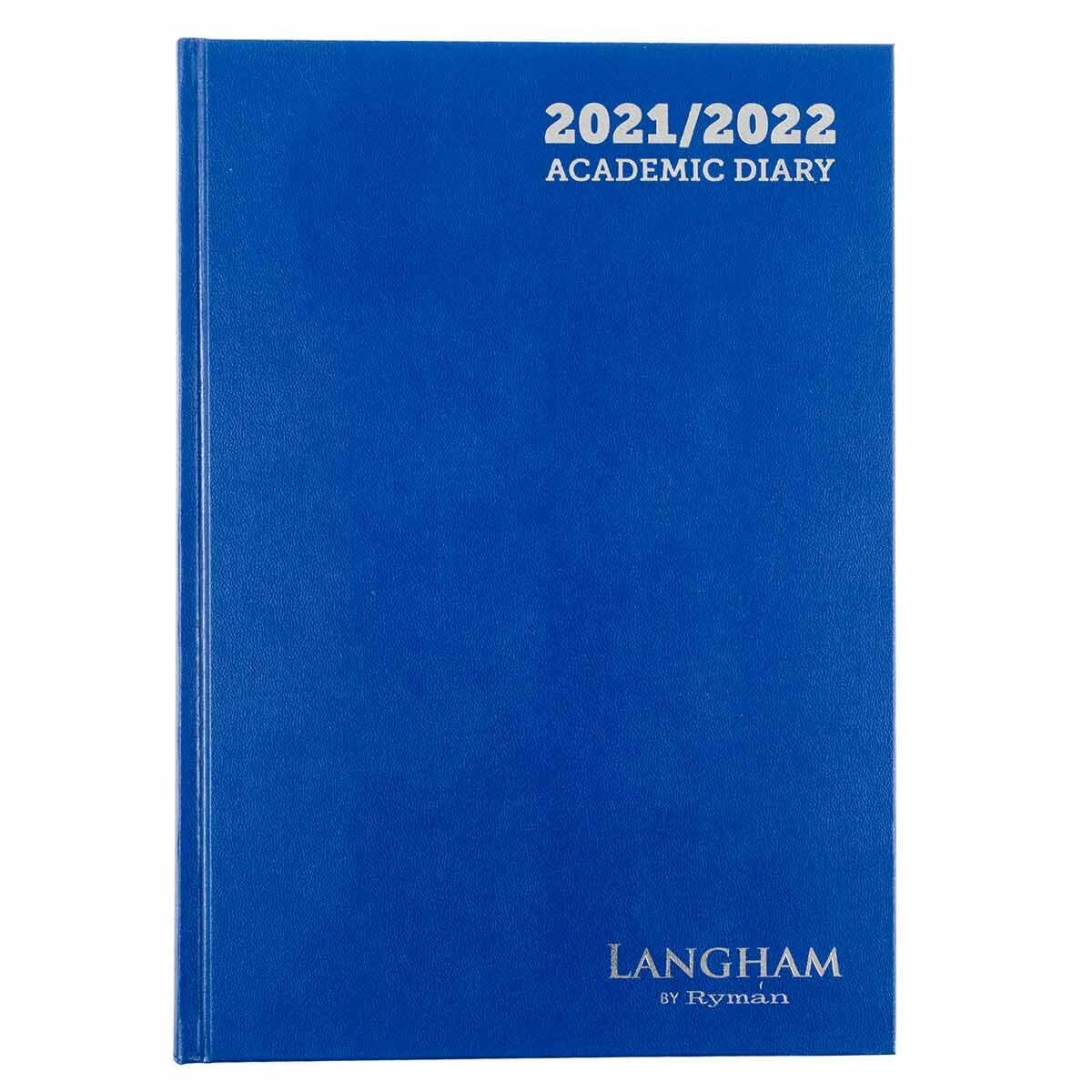 Ryman Langham Academic Appointments Diary Day to View A4 2021 Navy