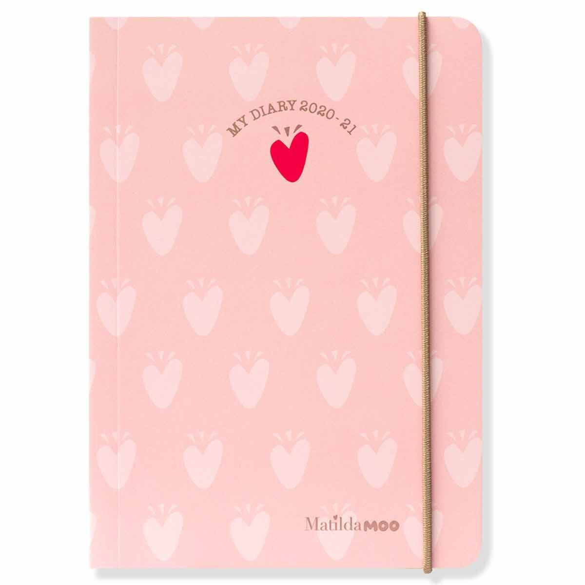 Matilda Moo Diary Day per Page A6 2020-2021 Light Pink