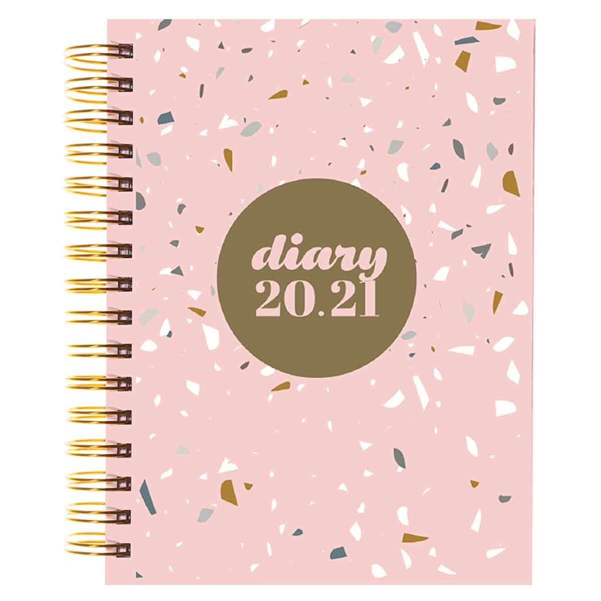 Collins Terrazzo Diary Page a Day A5 2020-2021 Light Pink