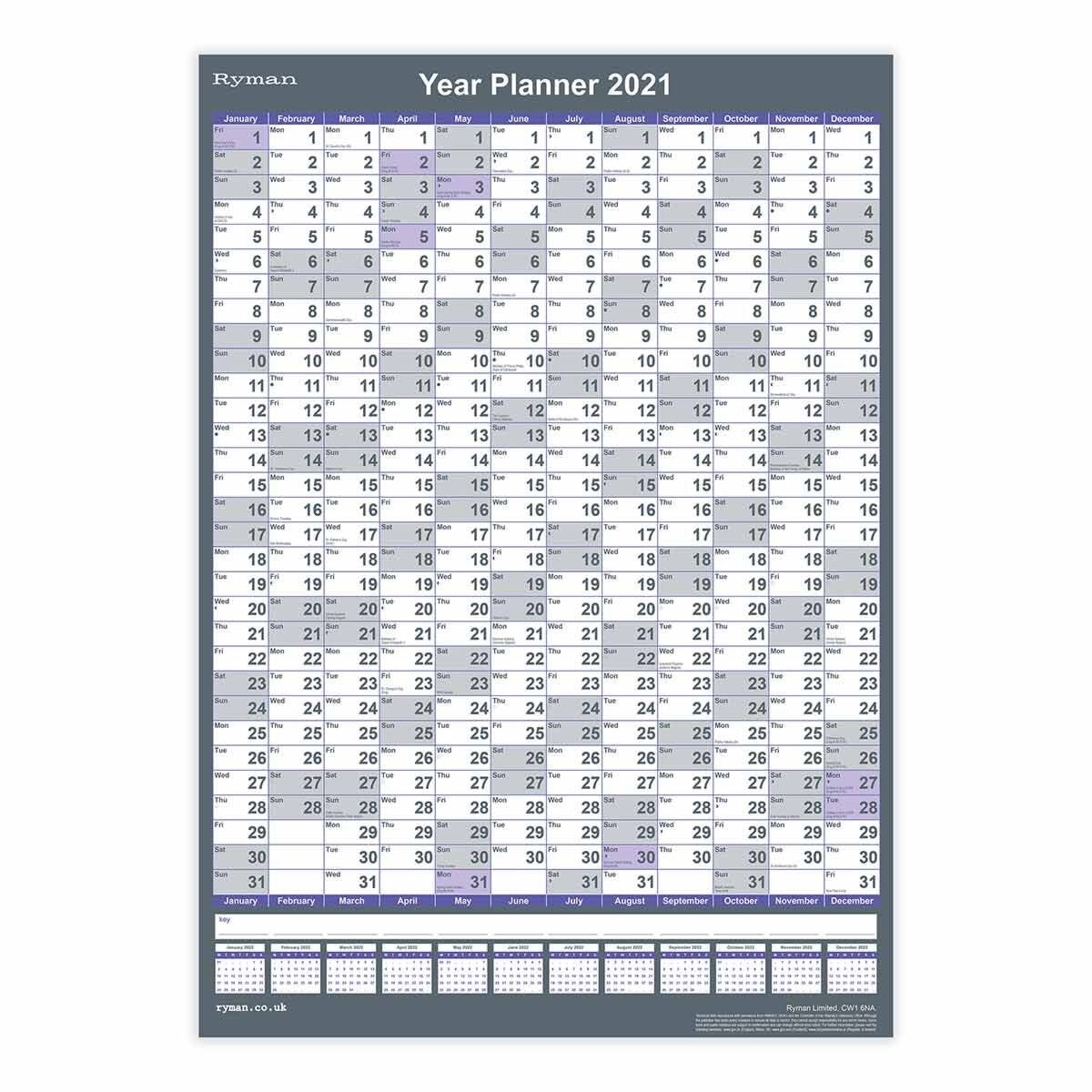 Ryman Compact Portrait Wall Planner 2021