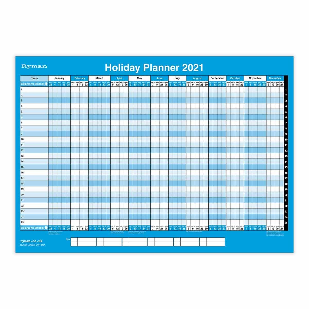 Ryman Compact Holiday Wall Planner 2021