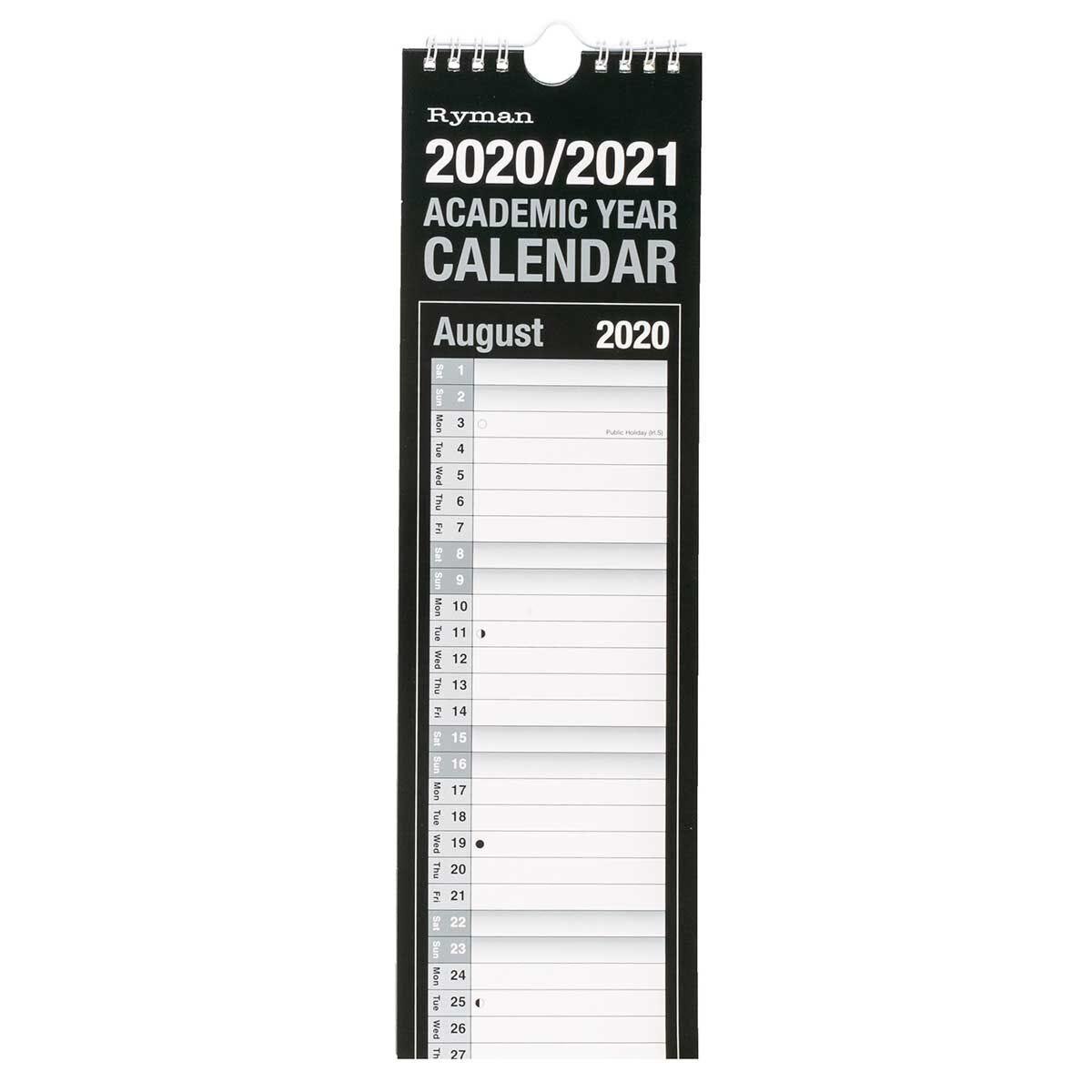 Ryman Academic Calendar Slim 2020-2021