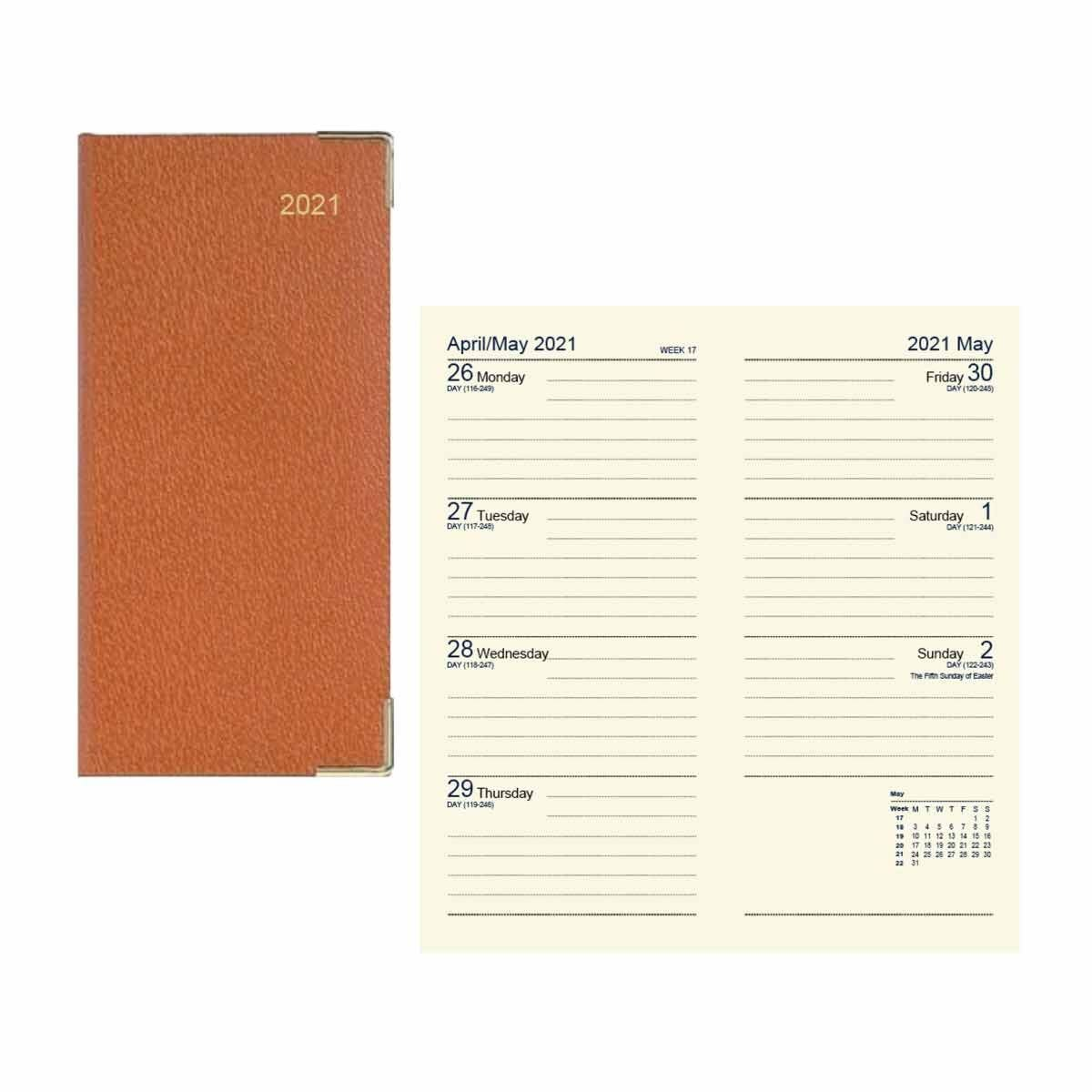 Dataday Week to View Slim Pocket Diary Tan 2021