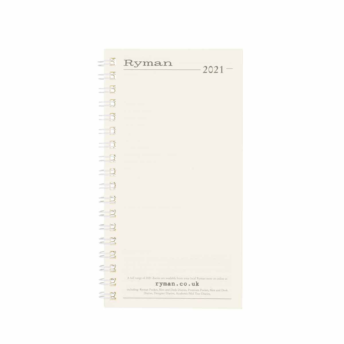 Ryman D10 Portrait Diary Refill Week to View Slim 2021