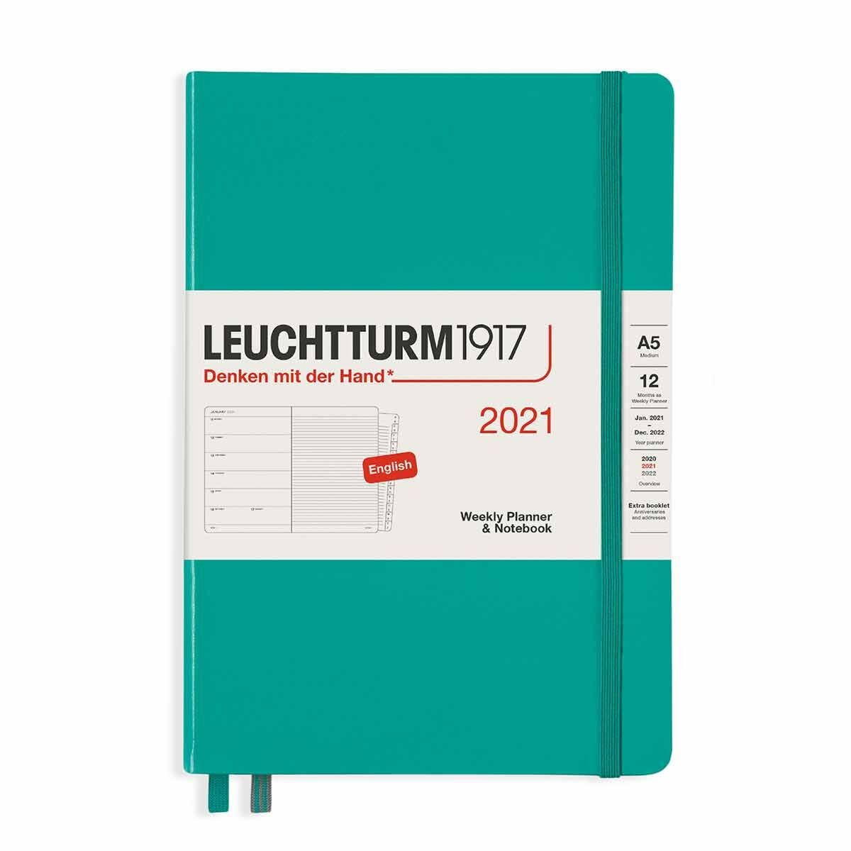 Leuchtturm1917 Hardcover Diary Week to View A5 2021 Emerald