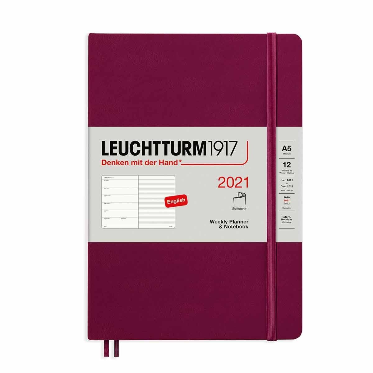 Leuchtturm1917 Softcover Diary Week to View A5 2021 Port Red