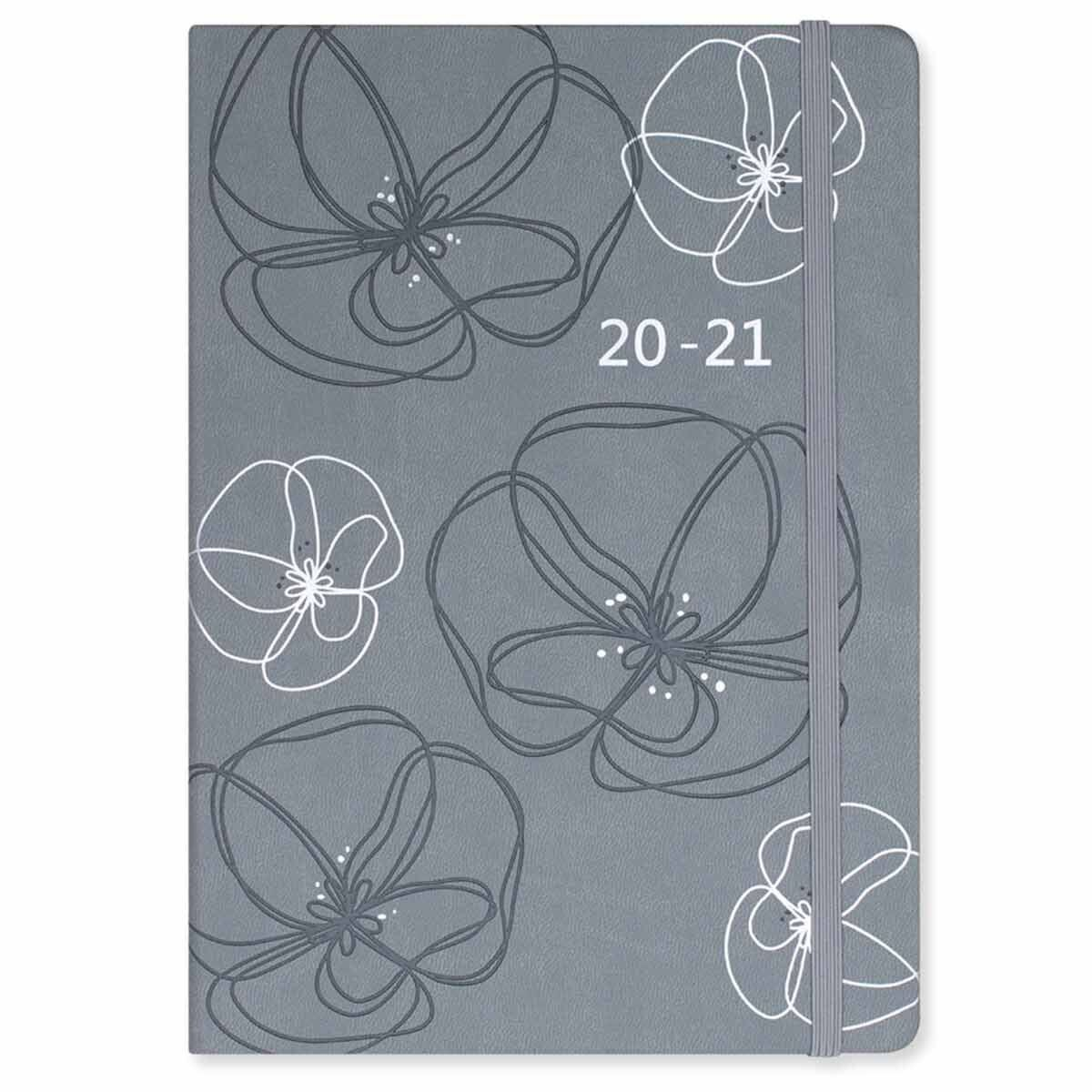 Matilda Myres Soft Touch Diary Week to View A5 2020-2021 Grey