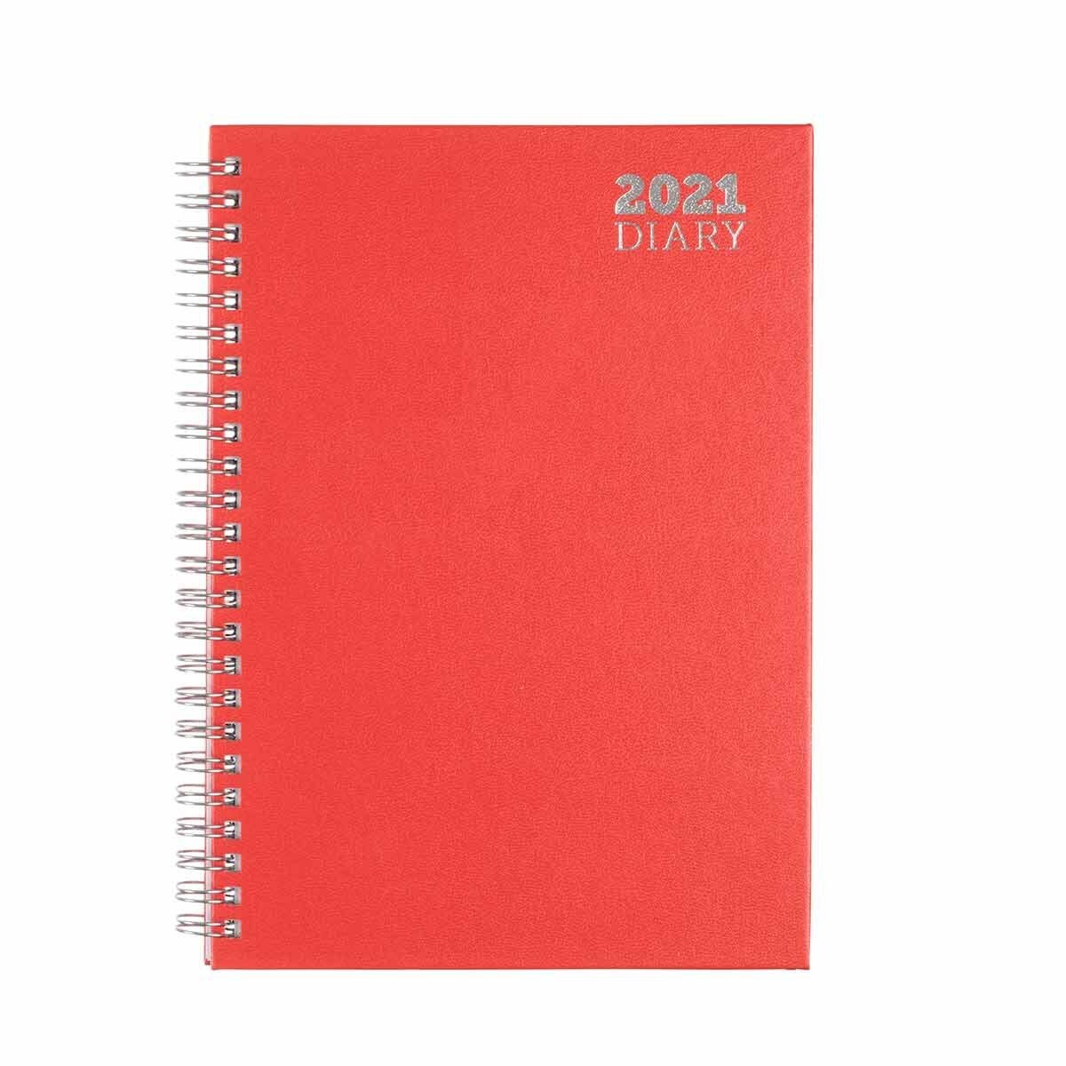 Ryman Wire Bound Diary Week to View A5 2021 Red