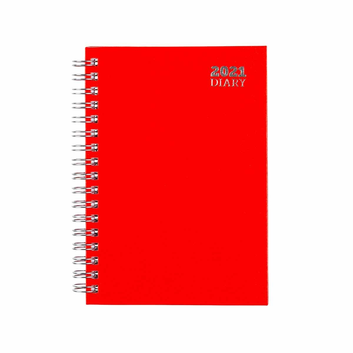 Ryman Wire Bound Diary Week to View A6 2021 Red