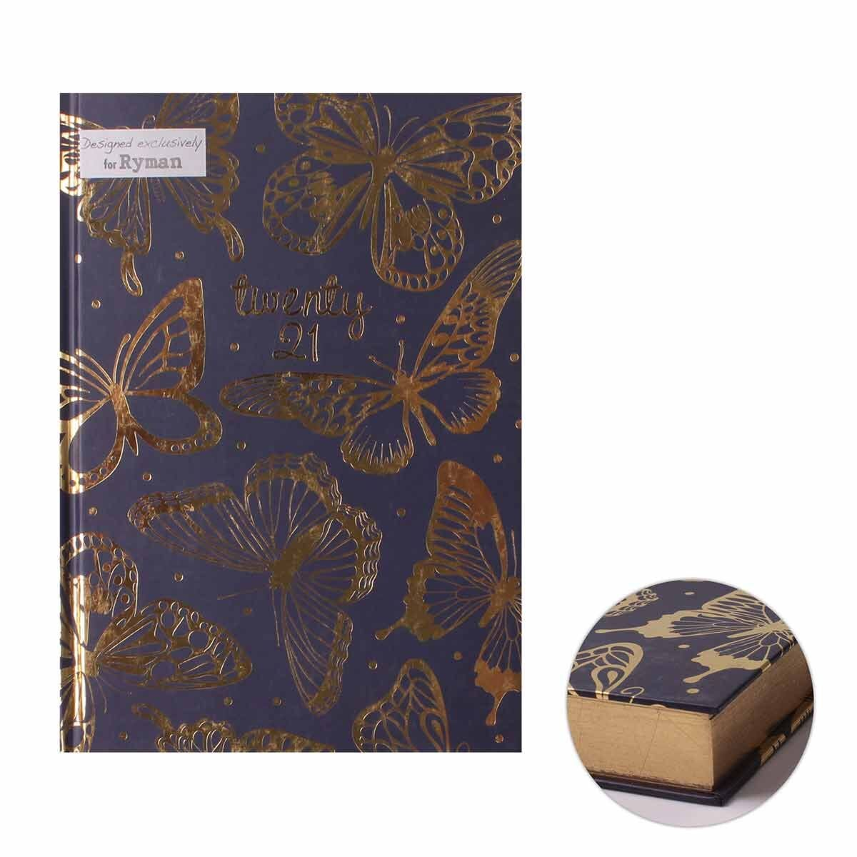 Ryman Butterfly Diary A5 Day per Page 2021