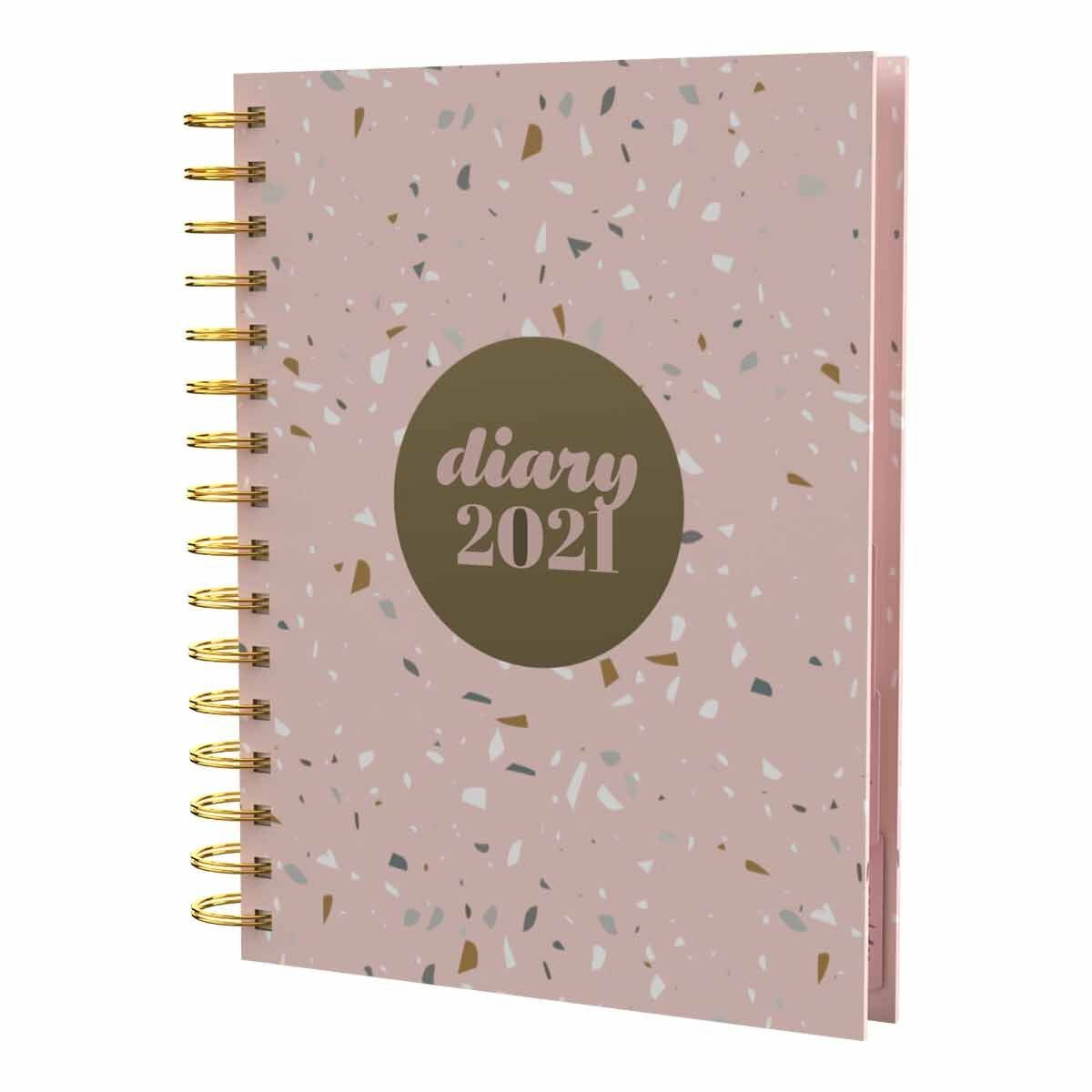 Collins Scandi Diary Day to View A5 2021 Terrazzo