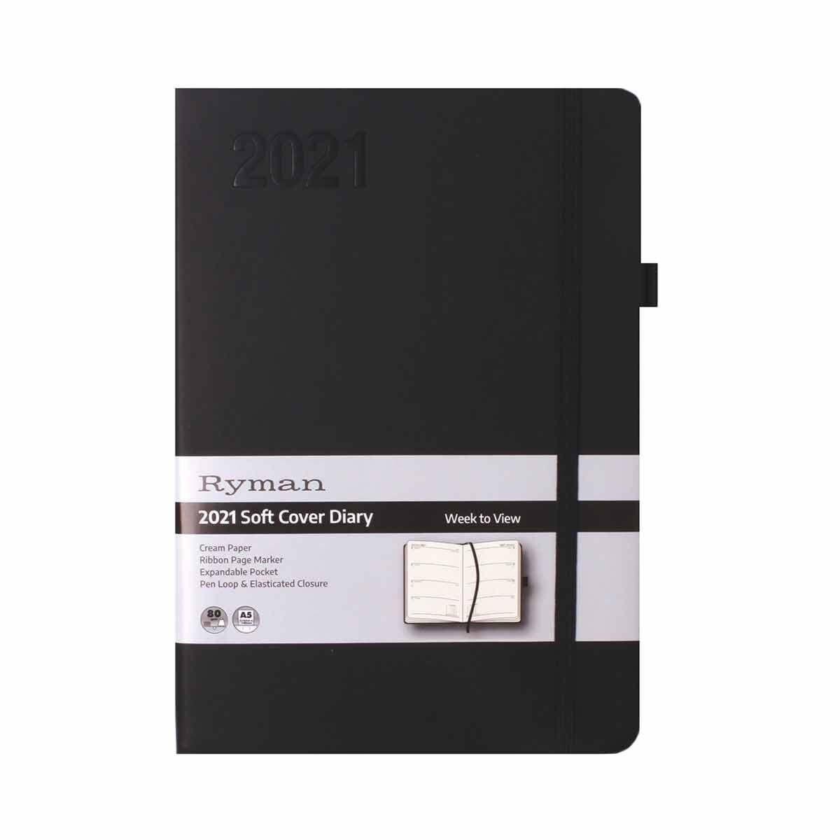 Ryman Soft Touch Diary Week to View A5 2021 Black