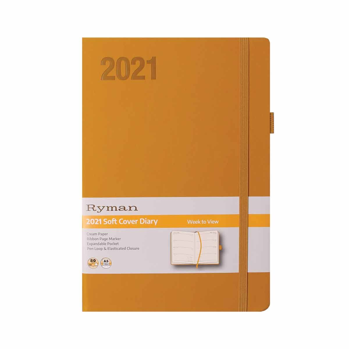 Ryman Soft Touch Diary Week to View A5 2021 Ochre