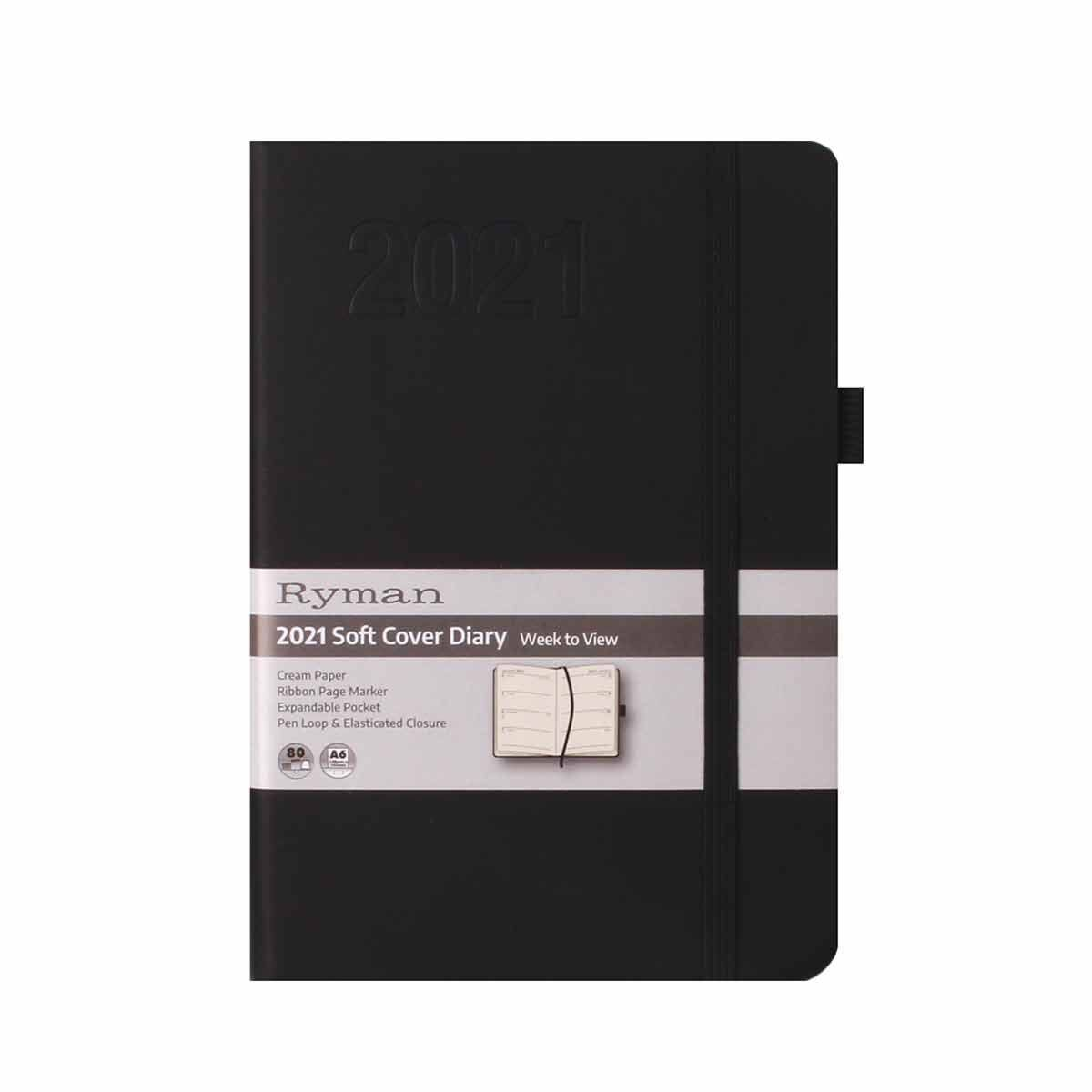 Ryman Soft Touch Diary Week to View A6 2021 Black