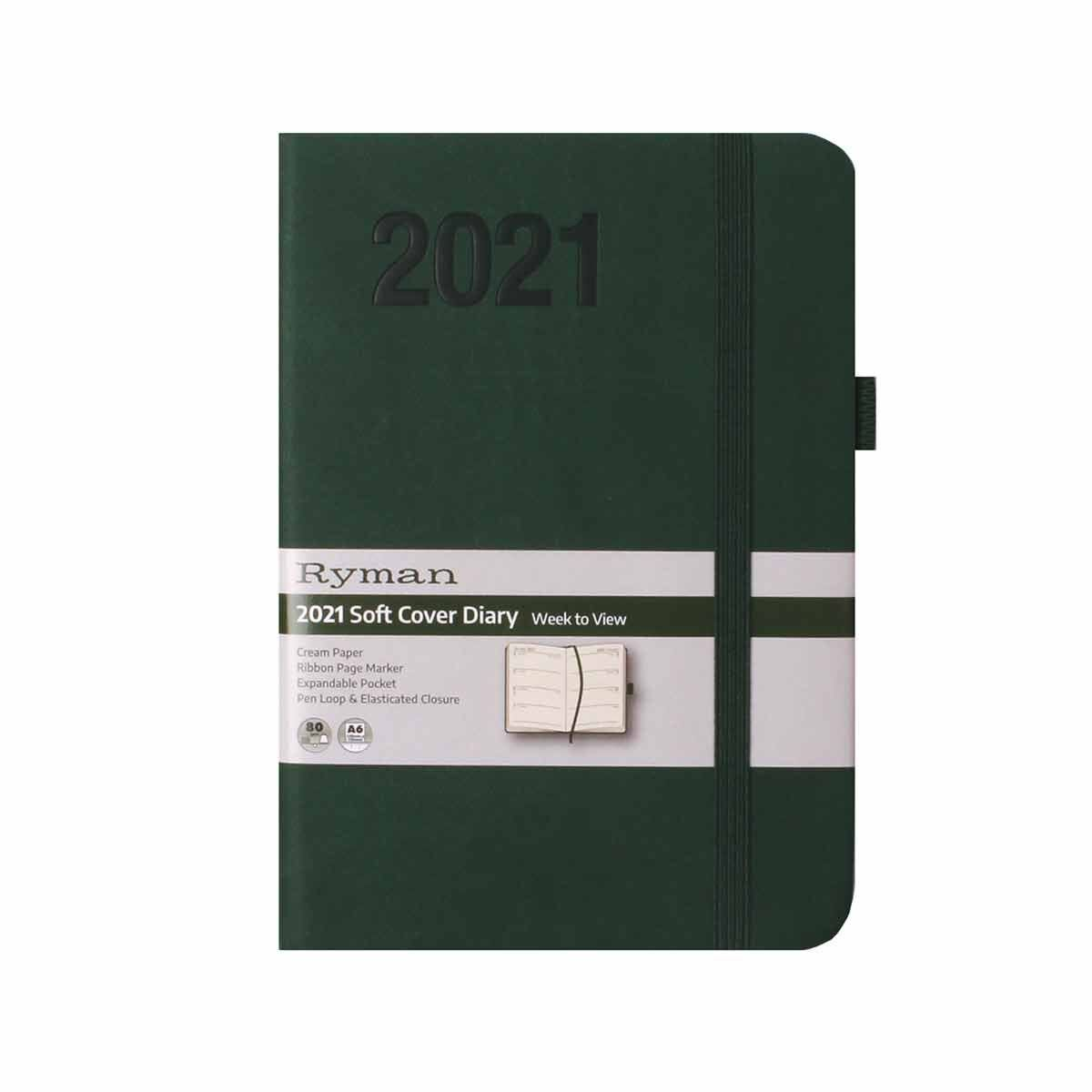Ryman Soft Touch Diary Week to View A6 2021 Green