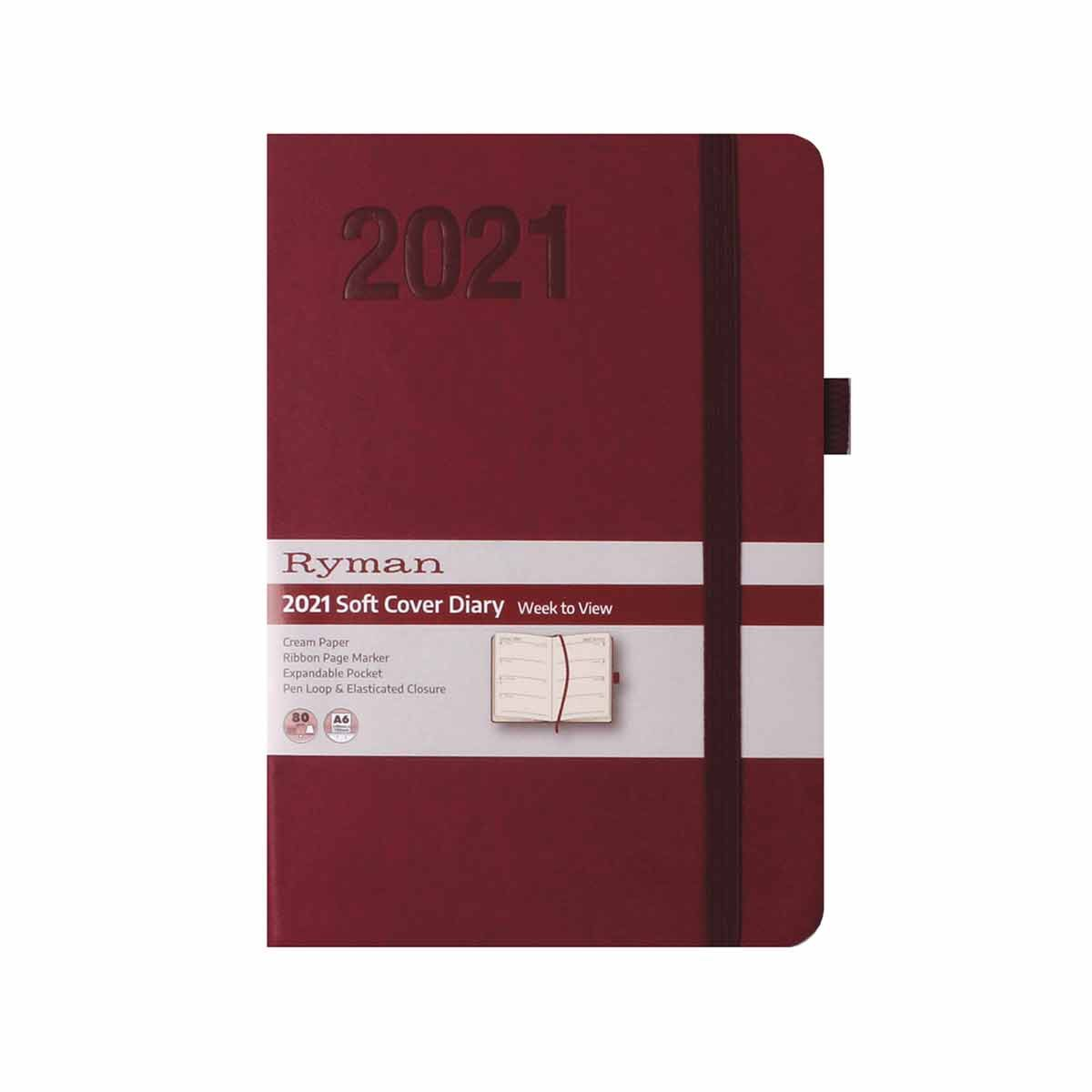 Ryman Soft Touch Diary Week to View A6 2021 Berry
