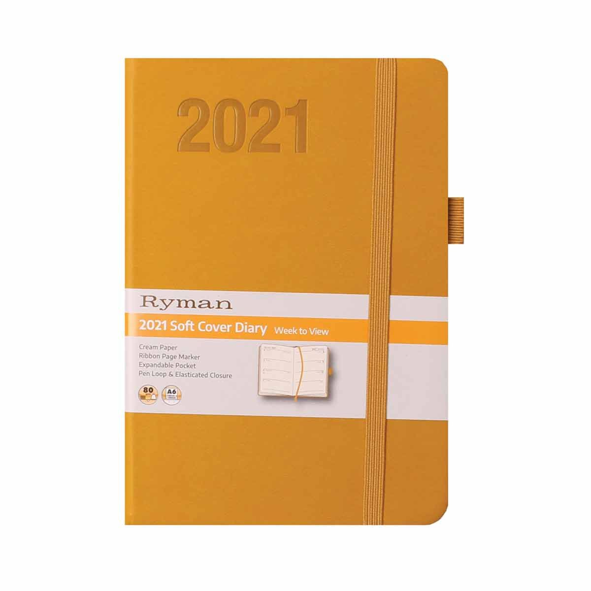 Ryman Soft Touch Diary Week to View A6 2021 Ochre