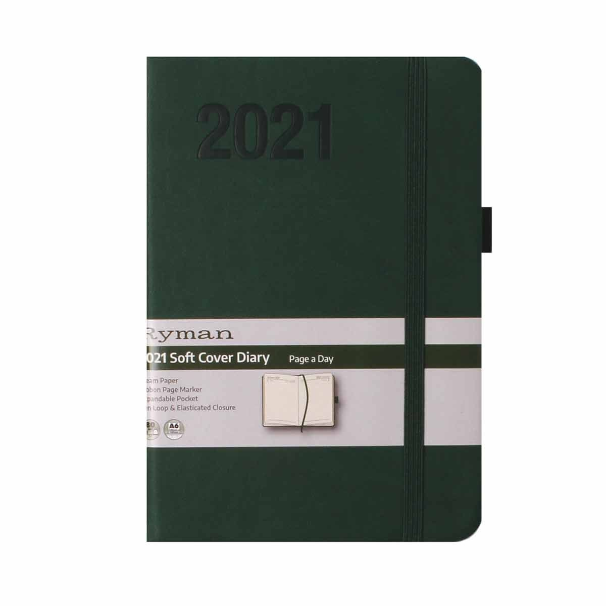 Ryman Soft Touch Diary Day to View A6 2021 Green