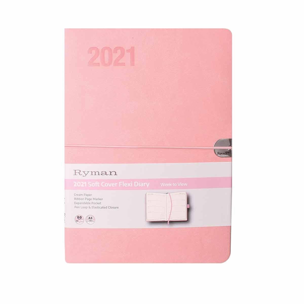Ryman Flexi Diary Week to View A5 2021 Pink