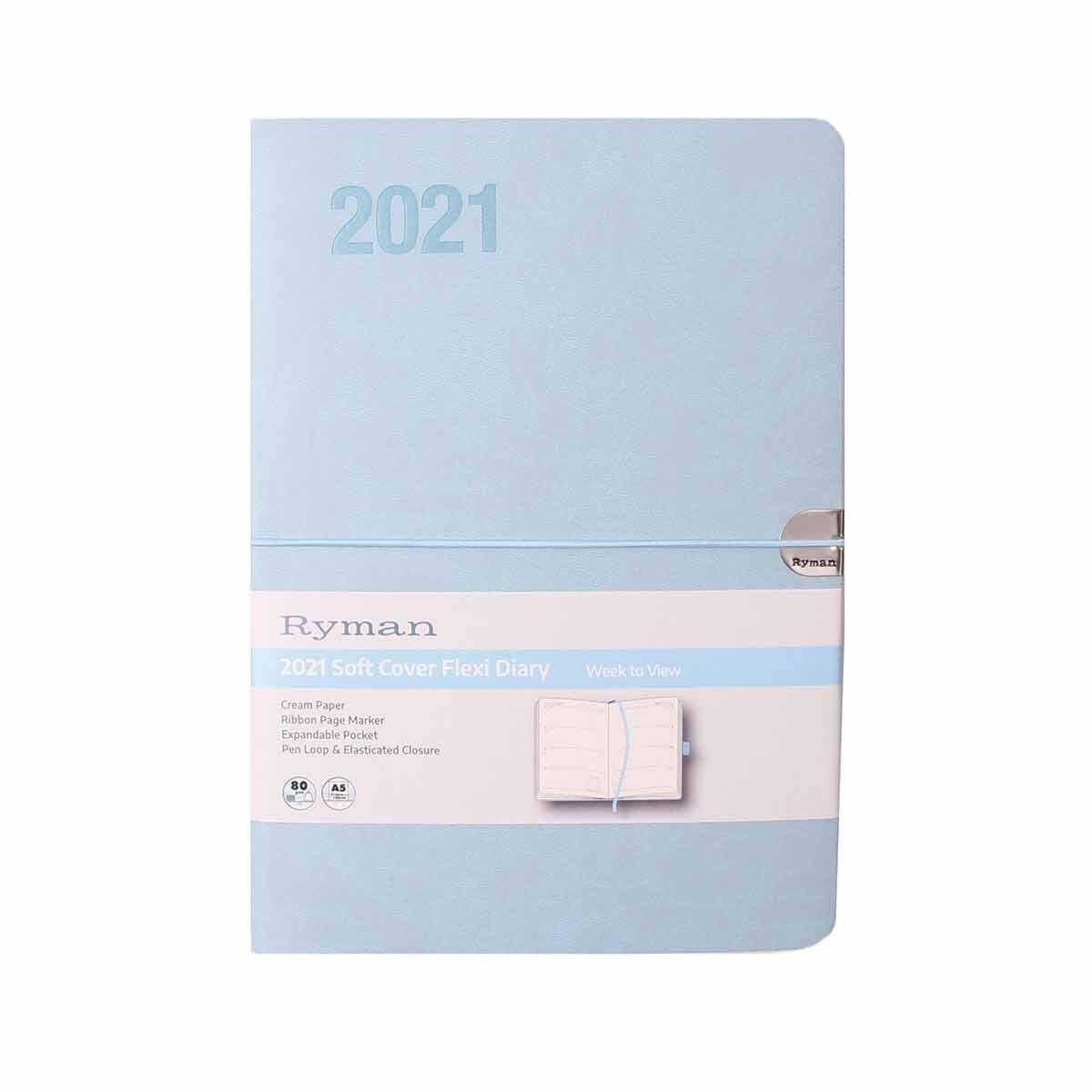 Ryman Flexi Diary Week to View A5 2021 Blue