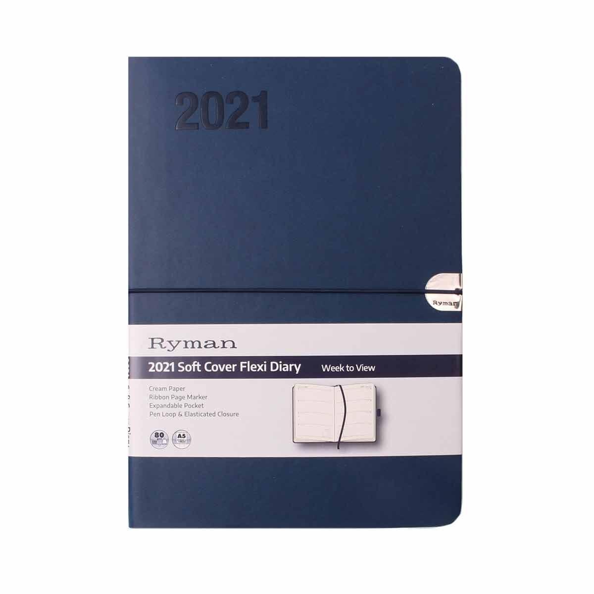 Ryman Flexi Diary Week to View A5 2021 Navy