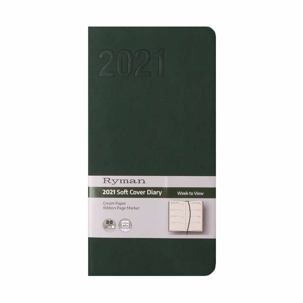 Ryman Soft Touch Diary Week to View Slim 2021 Green