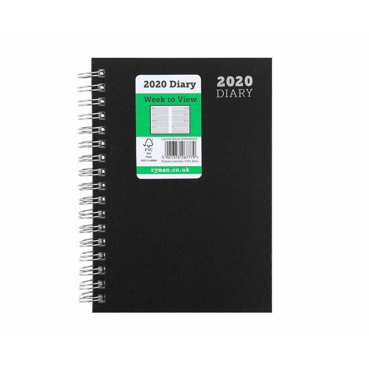 Ryman Wire Bound Diary Week to View A6 2020