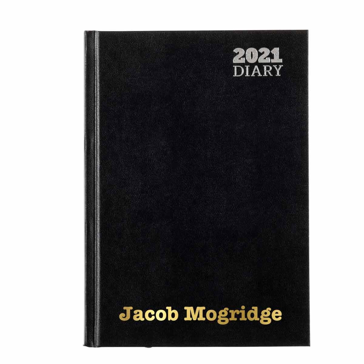 Ryman LA51 Personalised Diary Day to View A5 2021 Black Gold