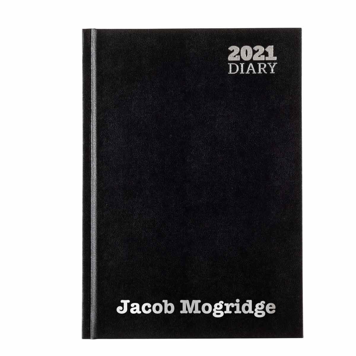 Ryman LA53 Personalised Diary Week to View A5 2021 Black Silver