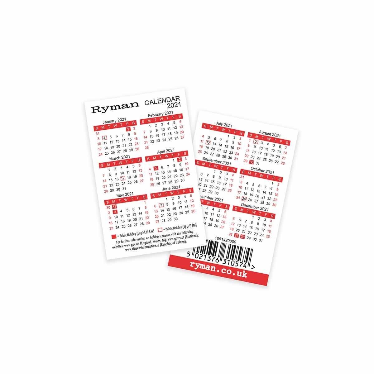 Ryman Credit Card Sized Calendar 2021