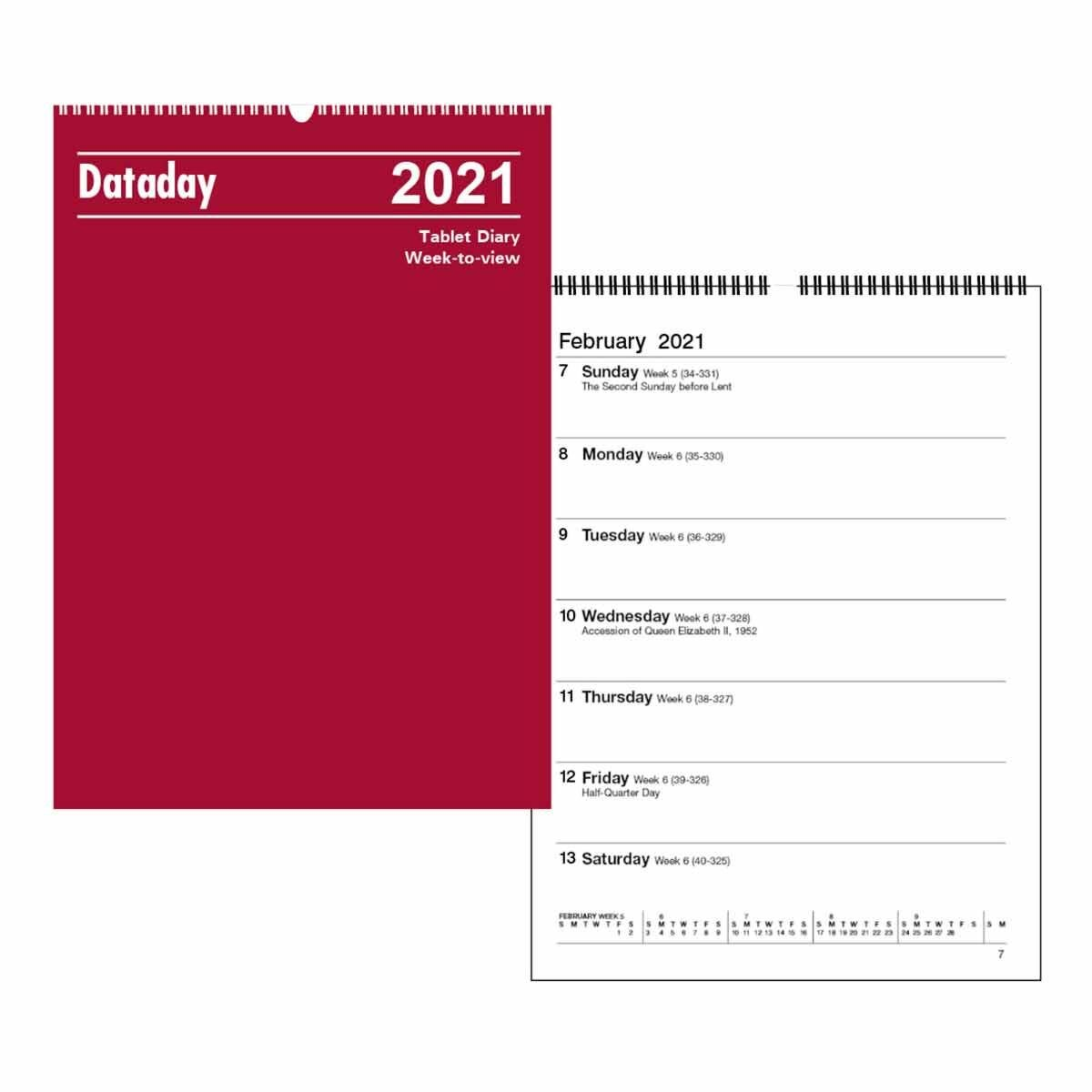 Dataday Week to View Wall Calendar 2021