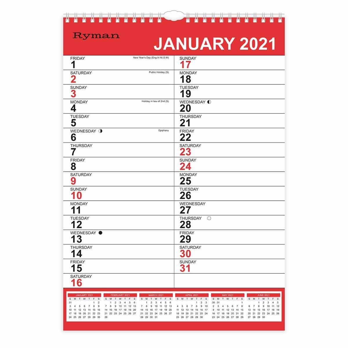 Ryman Calendar XL Bold Month to View 2021