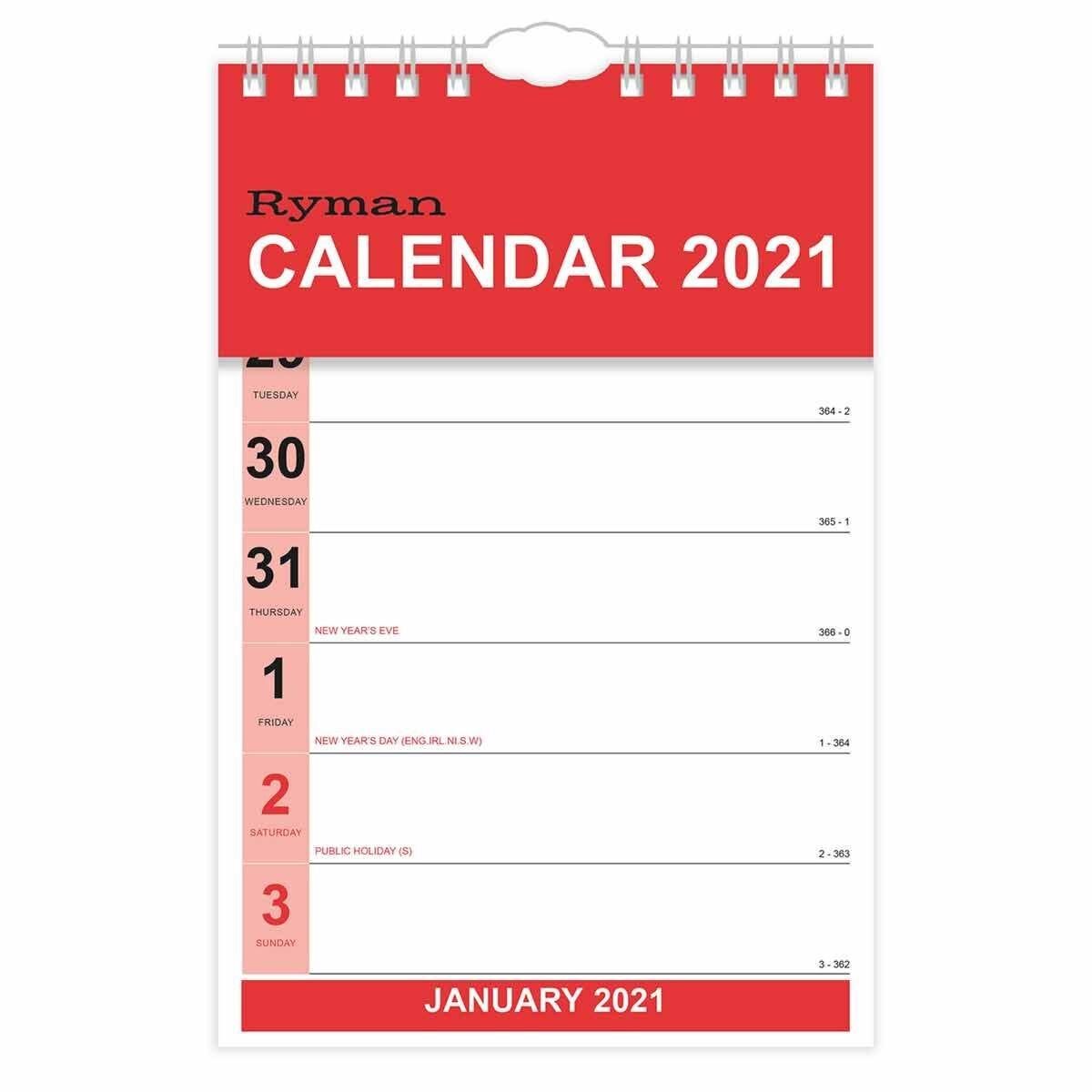 Ryman Calendar Tablet Week to View 2021