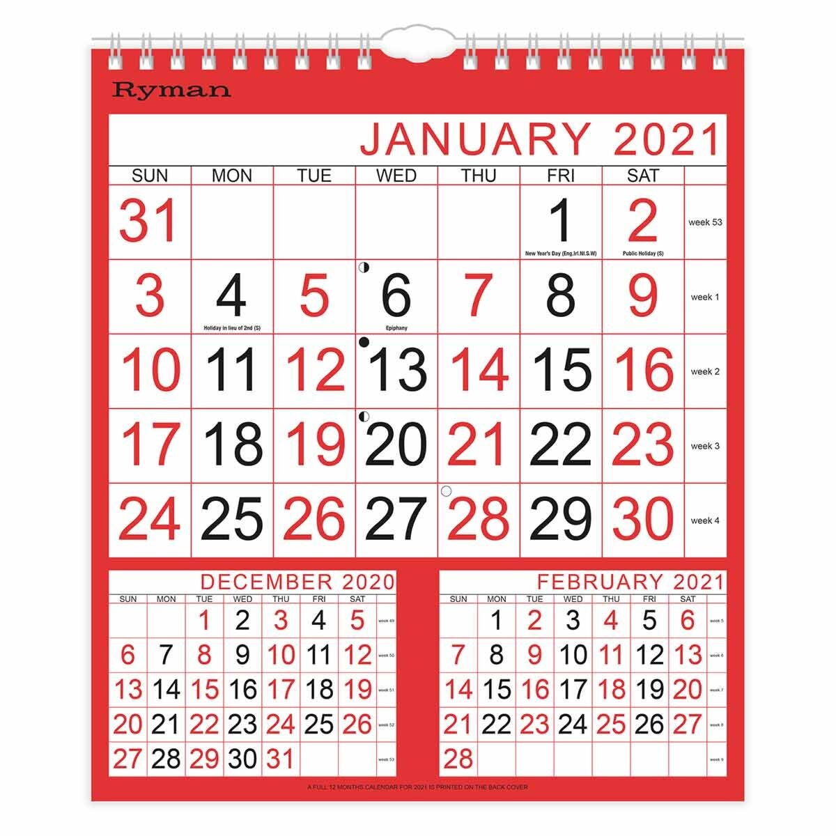 Ryman Calendar Medium 3 Month to View 2021