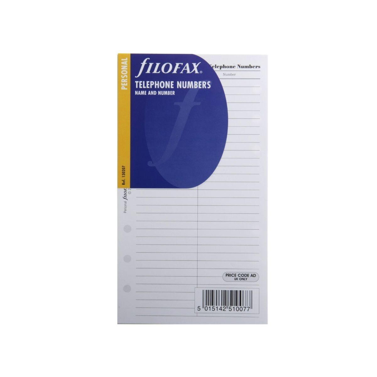Filofax Refill Personal Name and Telephone