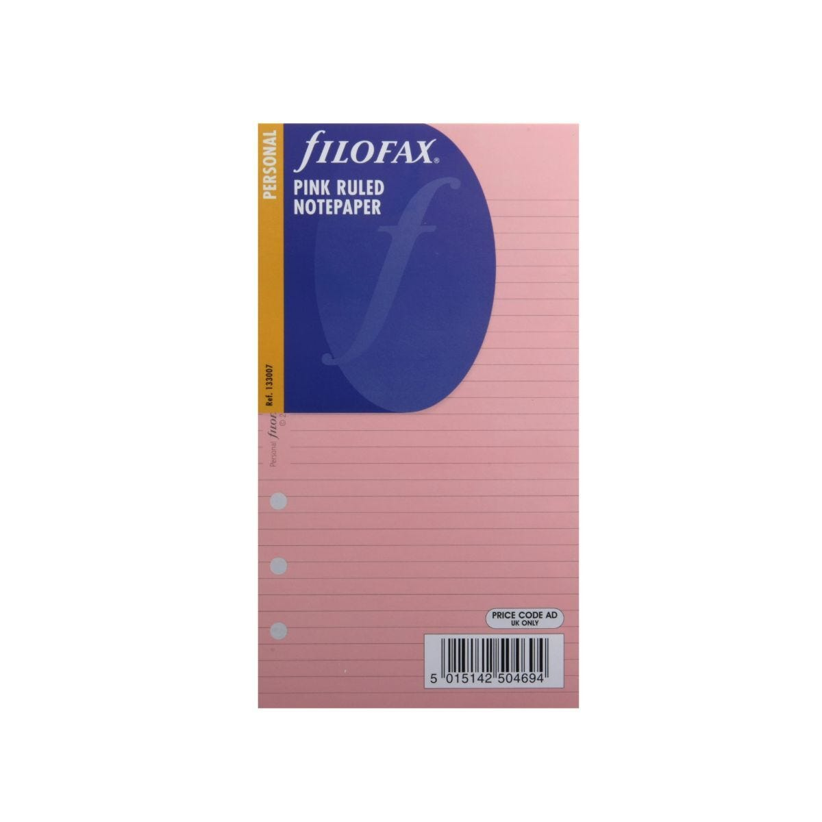 Filofax Refill Personal 30 Sheets Ruled Pink