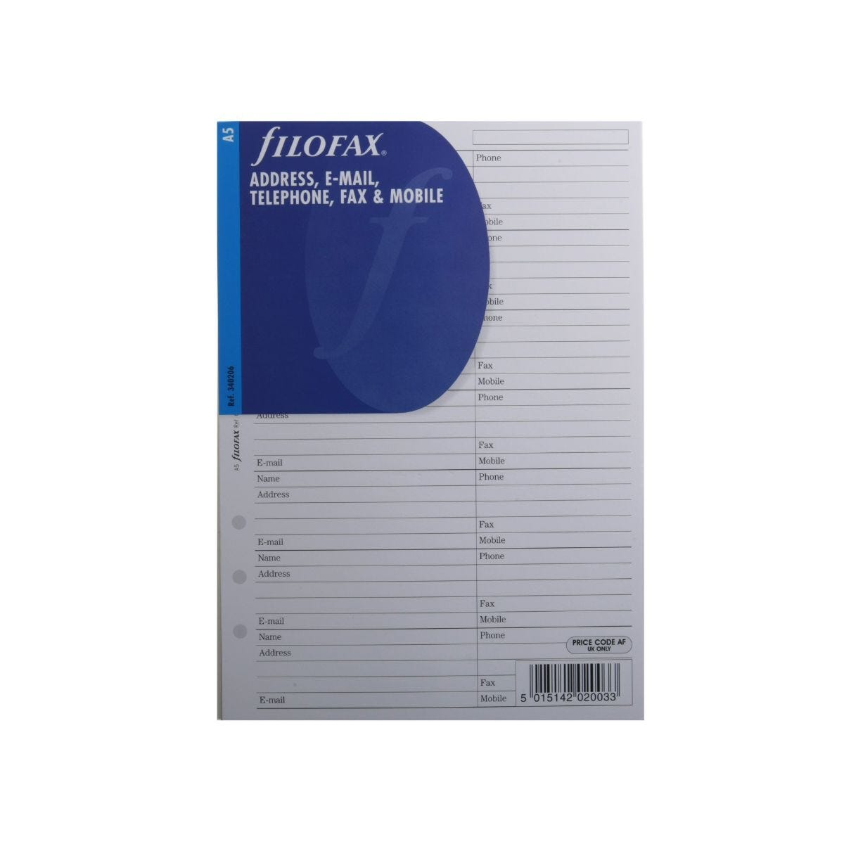 Filofax Refill A5 Name Address and Telephone 25 Sheets